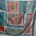 Schaltplan des Lebens II oder I, 2014, Foulard