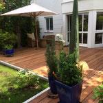 Gartenterrasse_Gartenbänken_Ipê  / Granit