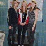 Lina, links, 3. Platz Gesamtwertung, 2. Platz rechts Alina, und mitte, Gesine, CSC