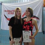 Lina, rechts 2. Platz 100 m Brust