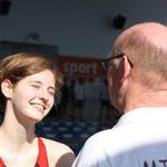 Freude über den Sieg, Jana und Trainer