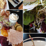 Rote Beete Salat, eine Auswahl regionaler Köstlichkeiten (Schinken, Trockenfleisch & Käse) und Sauerrahmeis