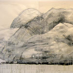Drawing 2, 150 x 420 cm, mixed media on paper