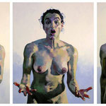 Red Fingers, Triptych, 150 x 300 cm, acrylic on canvas
