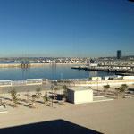 Vue du Belvédère de la Villa Méditerranée au bout d'un port à faux de 40 mètres.