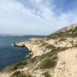 Quelques maisons de la calanque de Marseilleveyre au loin