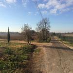 Agréable petite route déserte pour rejoindre les Milles