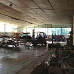 Partie du hangar pour la restauration mécanique