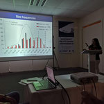 "Katherin Soto López durante su ponencia  ""Use of a multimodel approach to estimate the growth if the brown smooth hound shark Mustelus henlei (Elasmobranchii: Triakidae)"