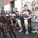 Pilgrims refresh themselves at a bar in Tineo