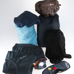 Overnight items: Sleeping bag (down), sleeping bag/sheet (silk), liner (microfibre), light pyjama/underwaer, headlight, earplugs, eye mask