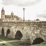 Roman bridge and Cathedral of Salamanca