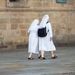Nuns passing the Obradoiro square