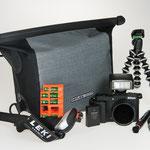 Camera equipment: Camera, water protected camera bag, flash, tripod, batteries, etc.