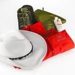 Weather protection equipment: Rain poncho, rain pants, sun hat, sun screen