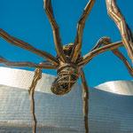 Outside art installation of Guggenheim museum in Bilbao