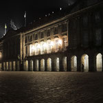 City hall on Obradoiro square at night