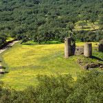 View Castillo El Real de la Jara towards Castillo de las Torres at the Extremaduran border