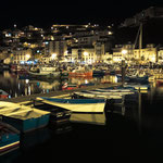 Luarca's harbor at night