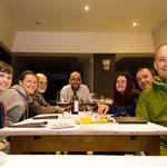 Happy pilgrims at a restaurant in Deba