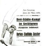Werbeplakat für den Drei-Städte-Kampf im Geräteturnen - 1959