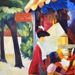 August Macke und Emil: Frau mit roter Jacke und Kind