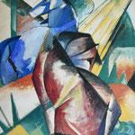 Franz Marc und Paul Sch.: Zwei Pferde rot und blau