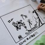Einen Bildausschnitt mit  Feder, Bambusstift oder Federhalter weiter malen