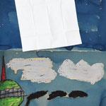 Sind die Bilder trocken, erhält Frau Holle ein Taschentuch als Oberbett. Jetzt fehlen nur noch die Schneeflocken.