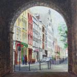 Blick auf die Severinstraße 2016, 40 x 40 cm, Mischtechnik auf Leinwand