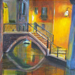 Nachtspaziergang durch Venedig 1, 2015, 30 x 40 cm, Acryl auf Leinwand