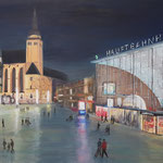 Hauptbahnhof bei Nacht 2, 2017, 50 x 60 cm, Acryl auf Leinwand