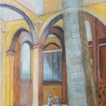 Die Trauernden Eltern in Alt St. Alban, 40 x 30 cm, Mischtechnik auf Papier