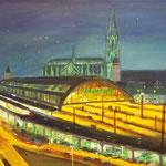 Hauptbahnhof bei Nacht 1, 2017, 50 x 70 cm, Acryl auf Leinwand