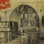 Carte postale de l'intérieur de l'église d'Escoussans