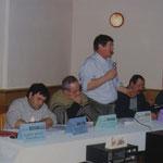 Réunion sur le tir au vol de la palombe, le 26 janvier 2001, à la salle des fêtes d'Escoussans.