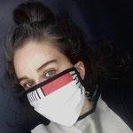 """Faltenmaske 21 """"BAUHAUS"""" von Gitterle/LiNUSCH, 2020, Leinen, Baumwolle, genäht, bereits mehrfach vervielfältigt"""