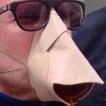 """Maske 24 """"Nasenschnauzer"""" von Bernhard Graschitz, Leder genäht / Unikat vom Hersteller getragen"""