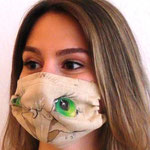 "Maske 27 ""ANIMAL FARM Eule"" von Lilo Almog, 2020, Stoffmalfarbe auf Leinen / UNIKAT"