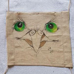 "Mask 27 ""ANIMAL FARM owl"" by Lilo Almog, 2020, fabric paint on textile / unique example"