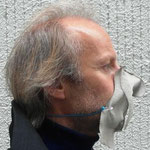 "Mask 3 ""Nasentanga"" by BERNHARD GRASCHITZ Material: Linen sewn, cut, painted, ironed, fixed with 2 safety pins on a rubber cord Uniqe example  Unique item worn by the manufacturer"