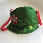 Зеленая маска от БИРГИТ ШЛАРМАНН, Шелк, хлопок, стекло, резинка, ручная сшивка, 2020