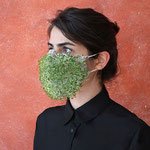 "Mask 7 ""Breath the rules"" by Sara Ghalandari, 2020, Fabric mesh, chia seed / A symbolic mask, the lifespan of plants on the mask is around 30 days / Unique example"
