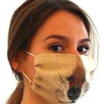 "Maske 29 ""ANIMAL FARM Hund"" von Lilo Almog, 2020, Foto, Stoffmalfarbe auf Leinen / UNIKAT"