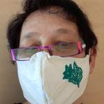 """Maske 32 """"Blume groß""""  von Wilma Payer, 2020, Leinen und Leinenmischung, Innenteil Baumwolle, Gummi für besseren Halt, Unikat"""
