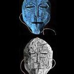 """Mask 14 """"Shunyata"""" by Sirwan Dawod, 2020, Cardboard paper, thread, acrylic paint, glued, cut, colored / Unique example"""