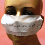"""Mask """"die zeit weit und breit"""" by PRINZpod, single fleece paper, small rubber band, 20x7cm"""