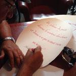 Calligraphie pour la boutique de stylos Plume & Bille - © Serge Cortesi