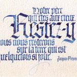 Poème de Jacques Prévert calligraphié en Gothique textura - © Serge Cortesi