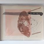 """Eva Hradil """"Hautfarben und Brot"""" 2019, Serigrafie, 1/1, gerahmt 30 x 40 cm"""